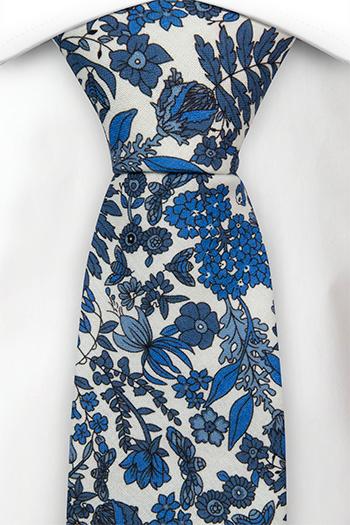 Bomull Slips, Hvit base med blå blomster, Blå, Blomstrete, Notch BLUEBREW White