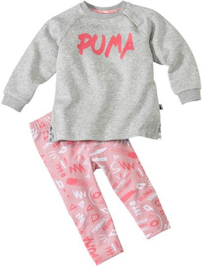 Puma Minicats Girls Aop Overdel og Leggings, Light Grey Heat 62