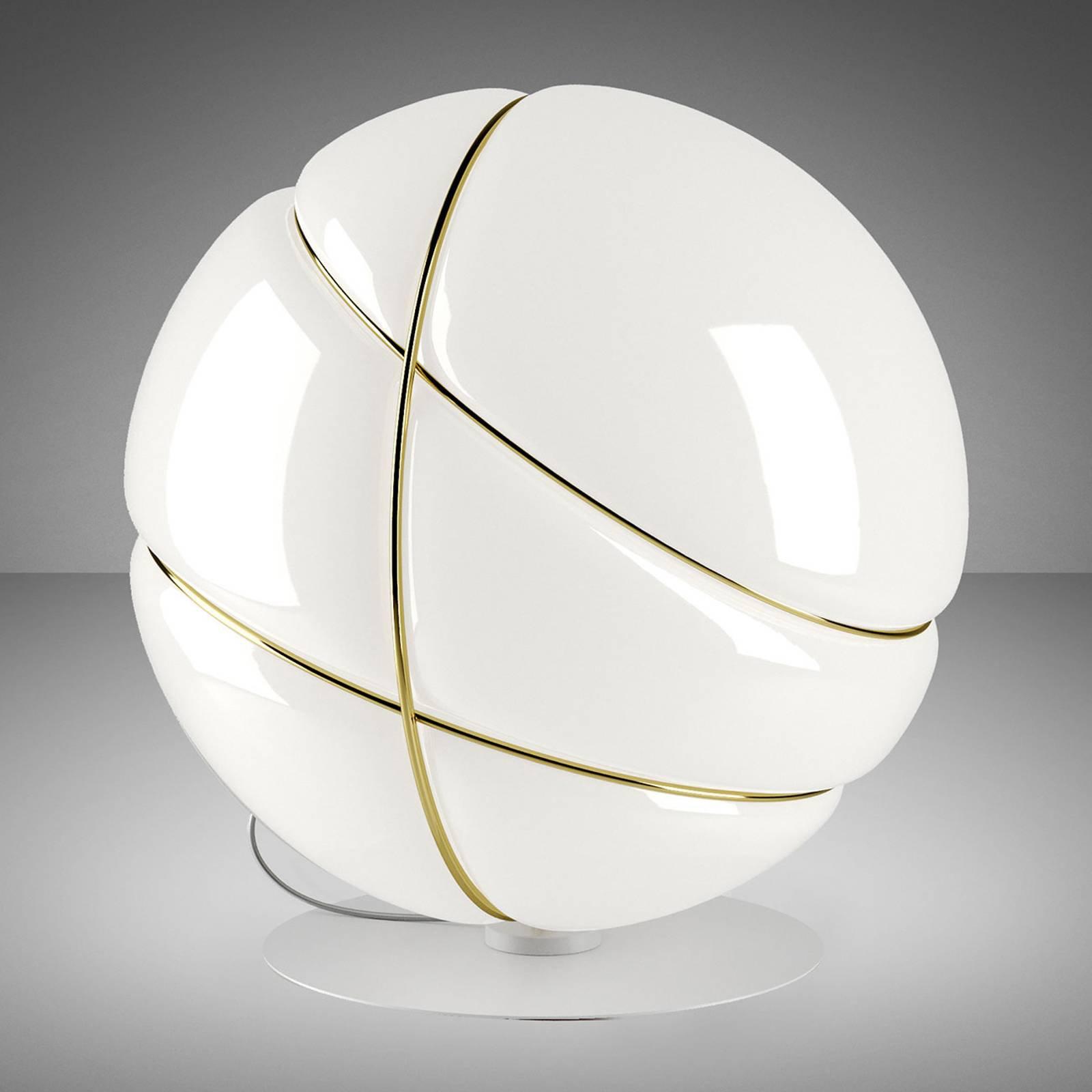 Fabbian Armilla bordlampe av glass, hvit, gull