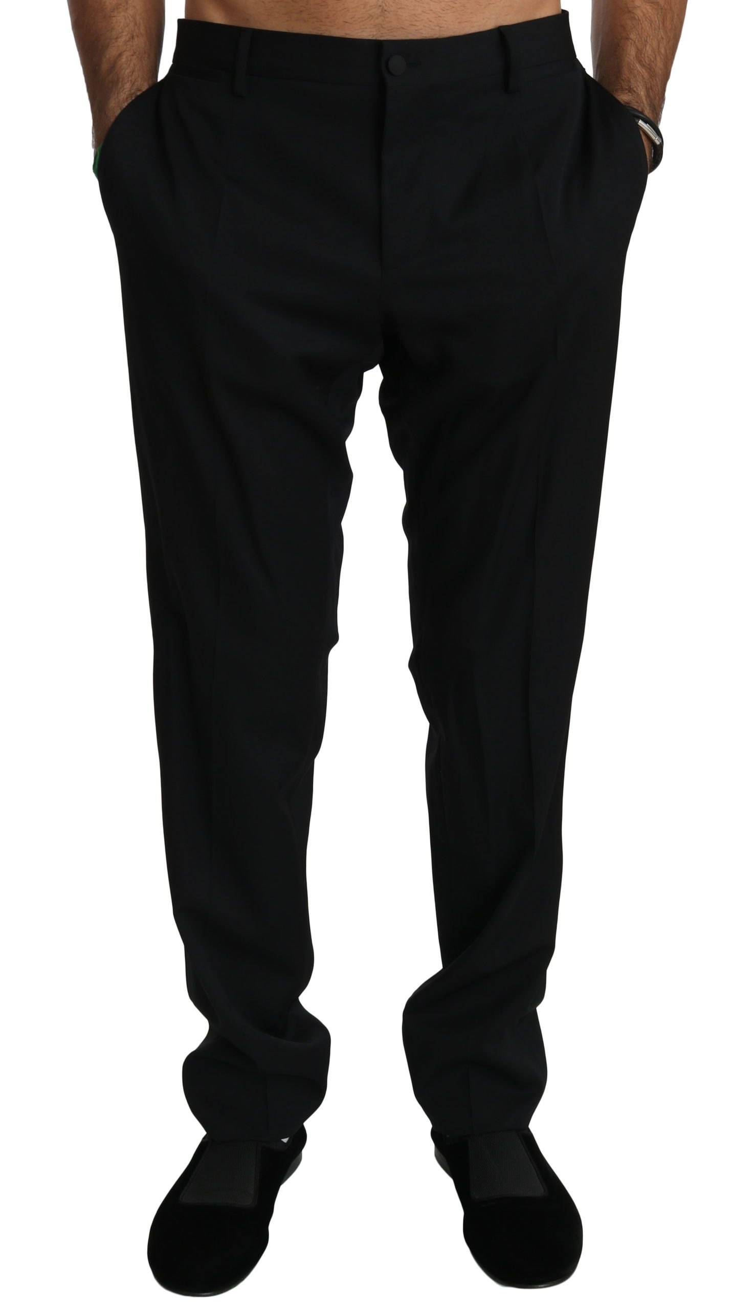 Dolce & Gabbana Men's Slim Formal Wool Trouser Black PAN70757 - IT52   XL