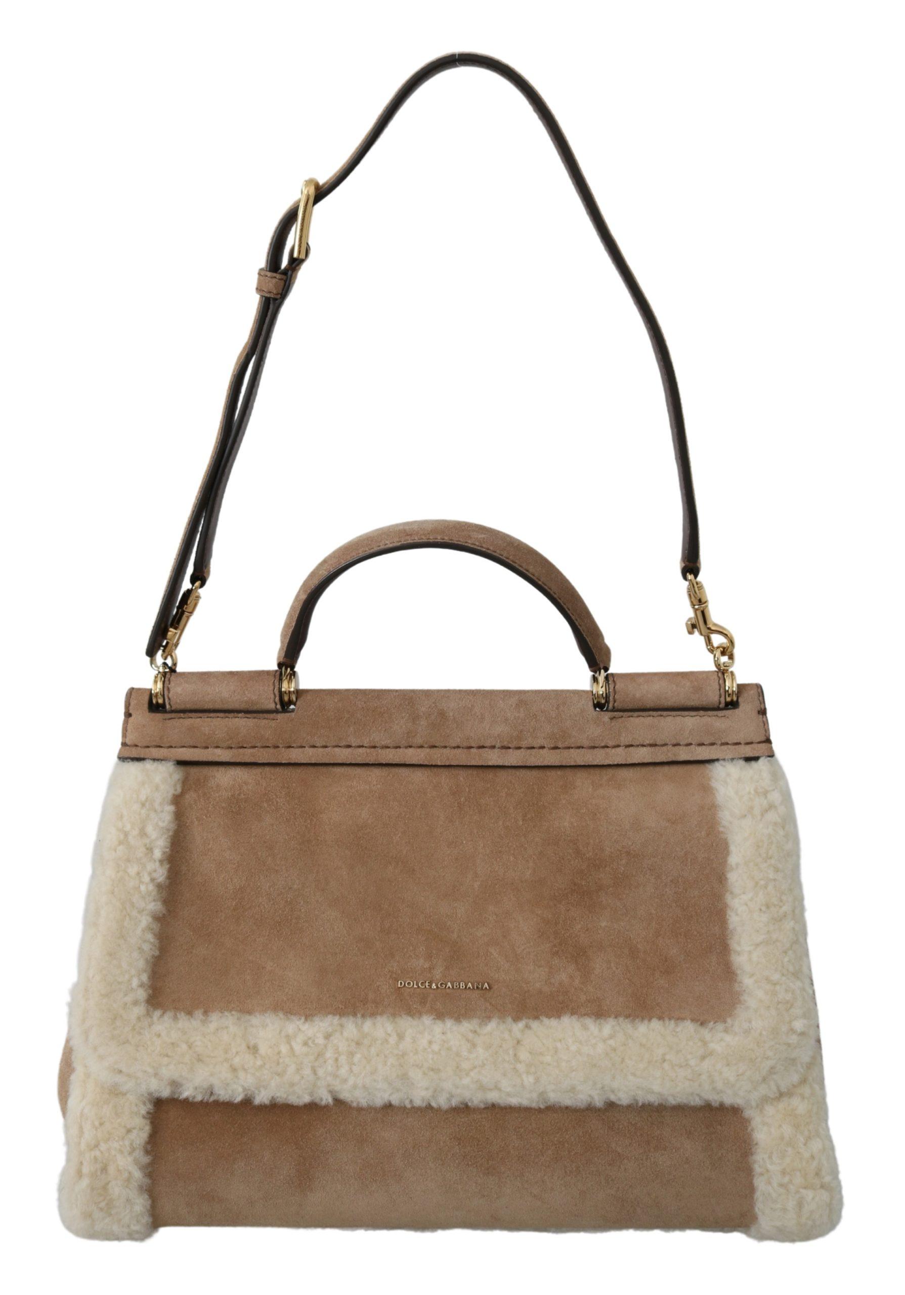 Dolce & Gabbana Women's Suede Shearling Satchel Shoulder Bag Brown VAS9797