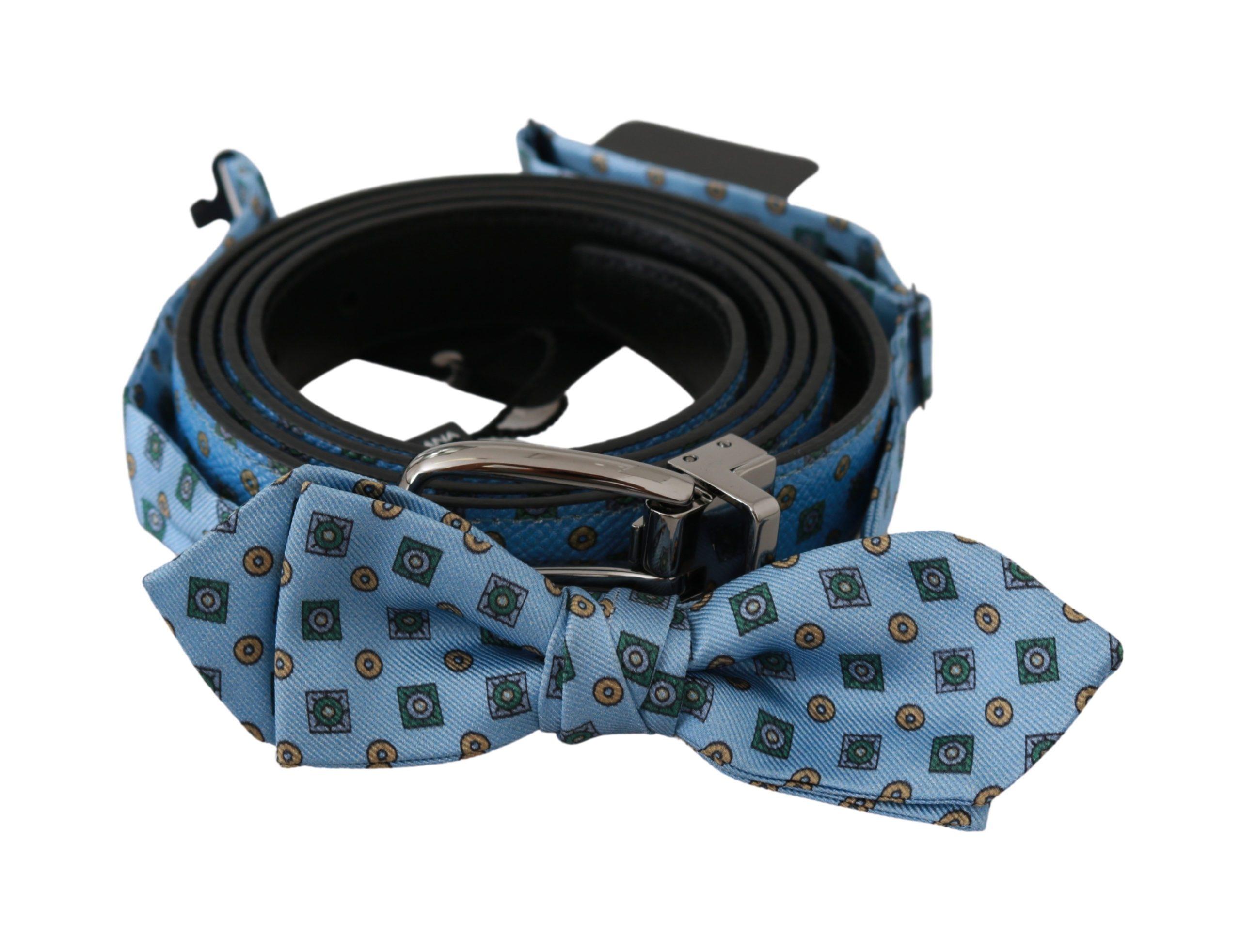 Dolce & Gabbana Men's Waist Leather Tie Silk Belt Blue BEL60542 - 115 cm / 46 Inches