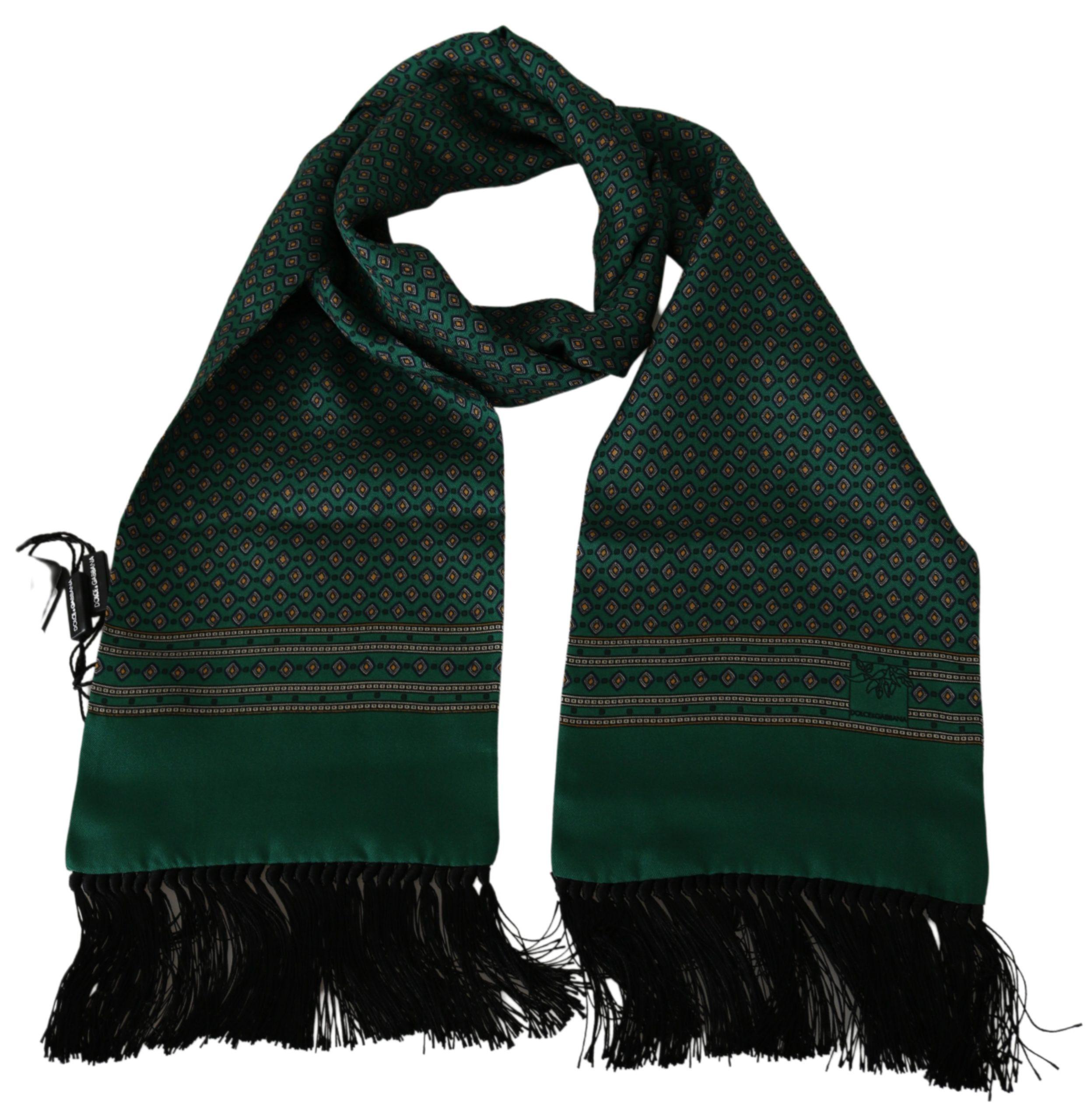 Dolce & Gabbana Men's Baroque Wrap Silk Scarf Green MS1739