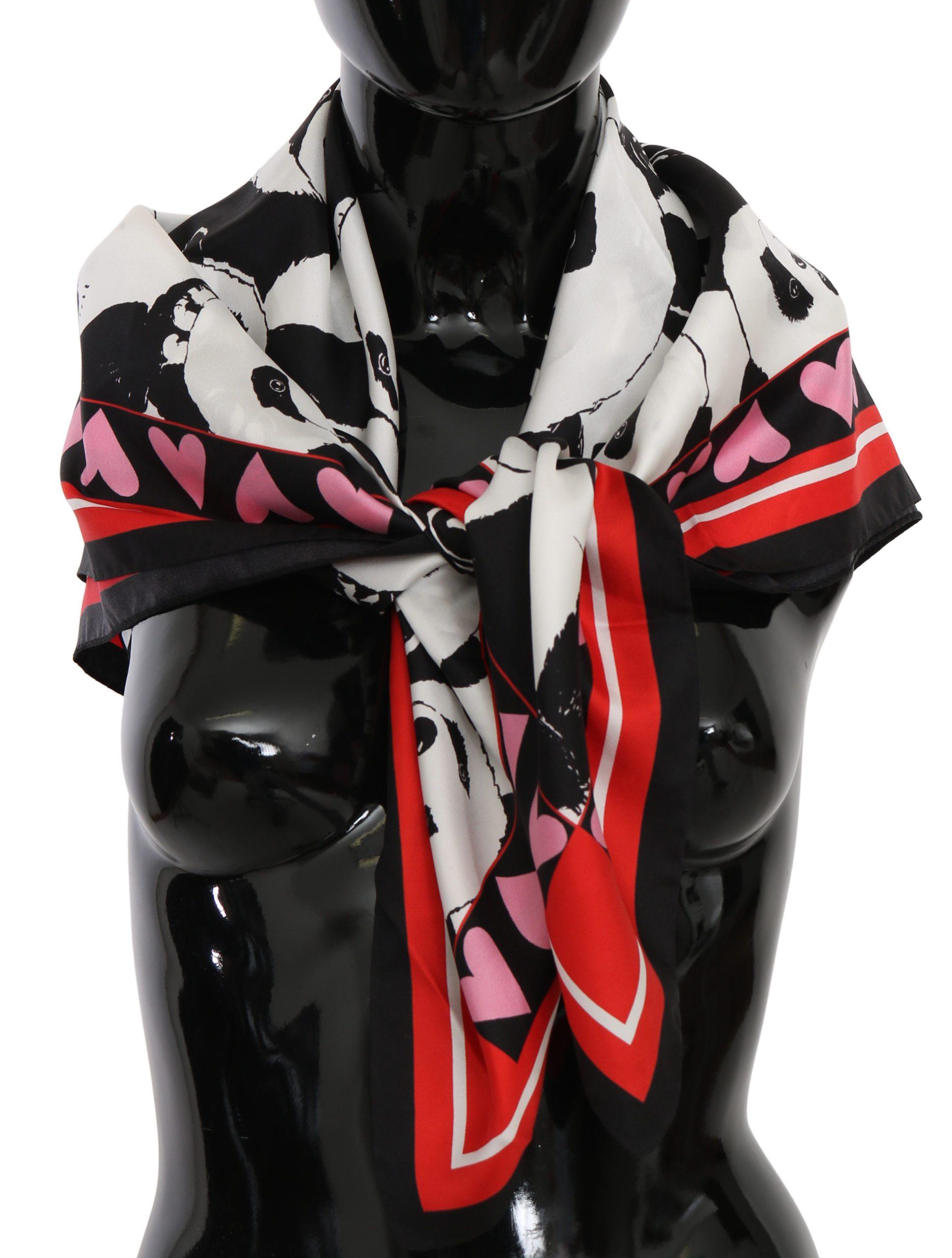 Dolce & Gabbana Women's Panda Print Wrap Silk Scarf Multicolor MS6096