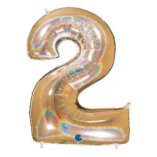 Sifferballong Glitter Guld - Siffra 2