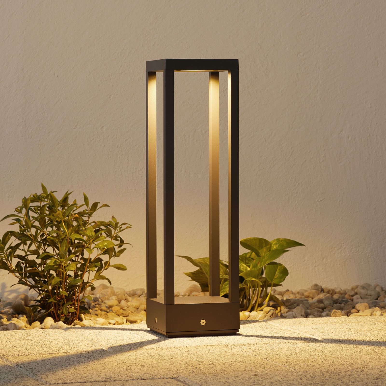 LED-pollarivalaisin Carlota, tummanharmaa, 50 cm