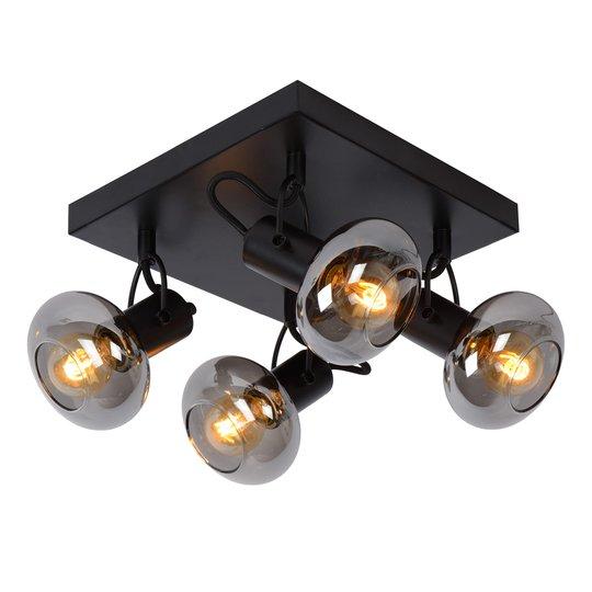 Madee takspot svart/røyk, 4 lyskilder