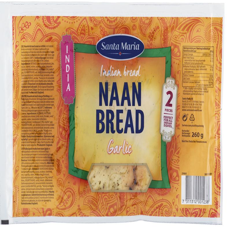 """Bröd """"Naan Bread Garlic"""" 260g - 48% rabatt"""
