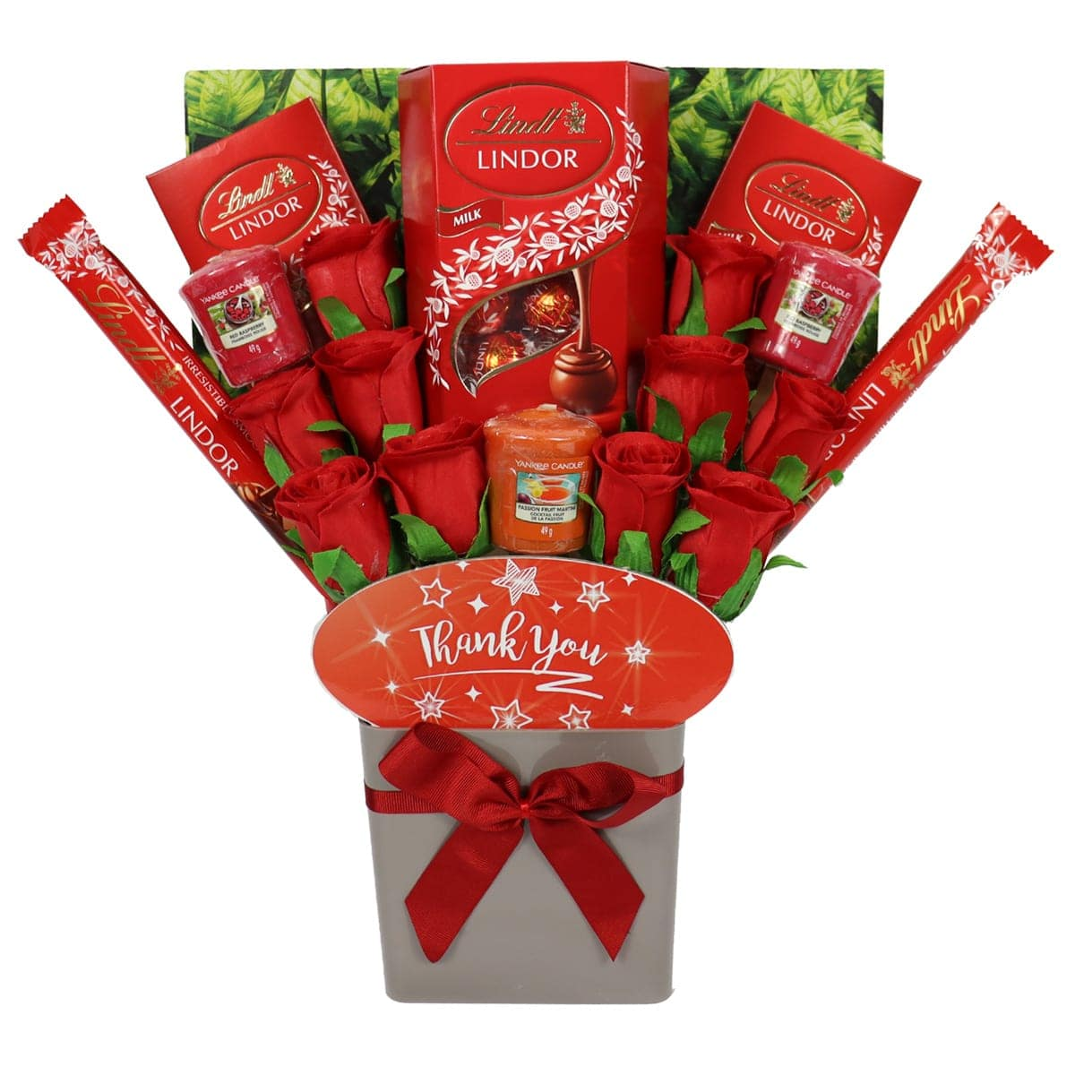 The Thank You Yankee Candle and Red Rose Bouquet
