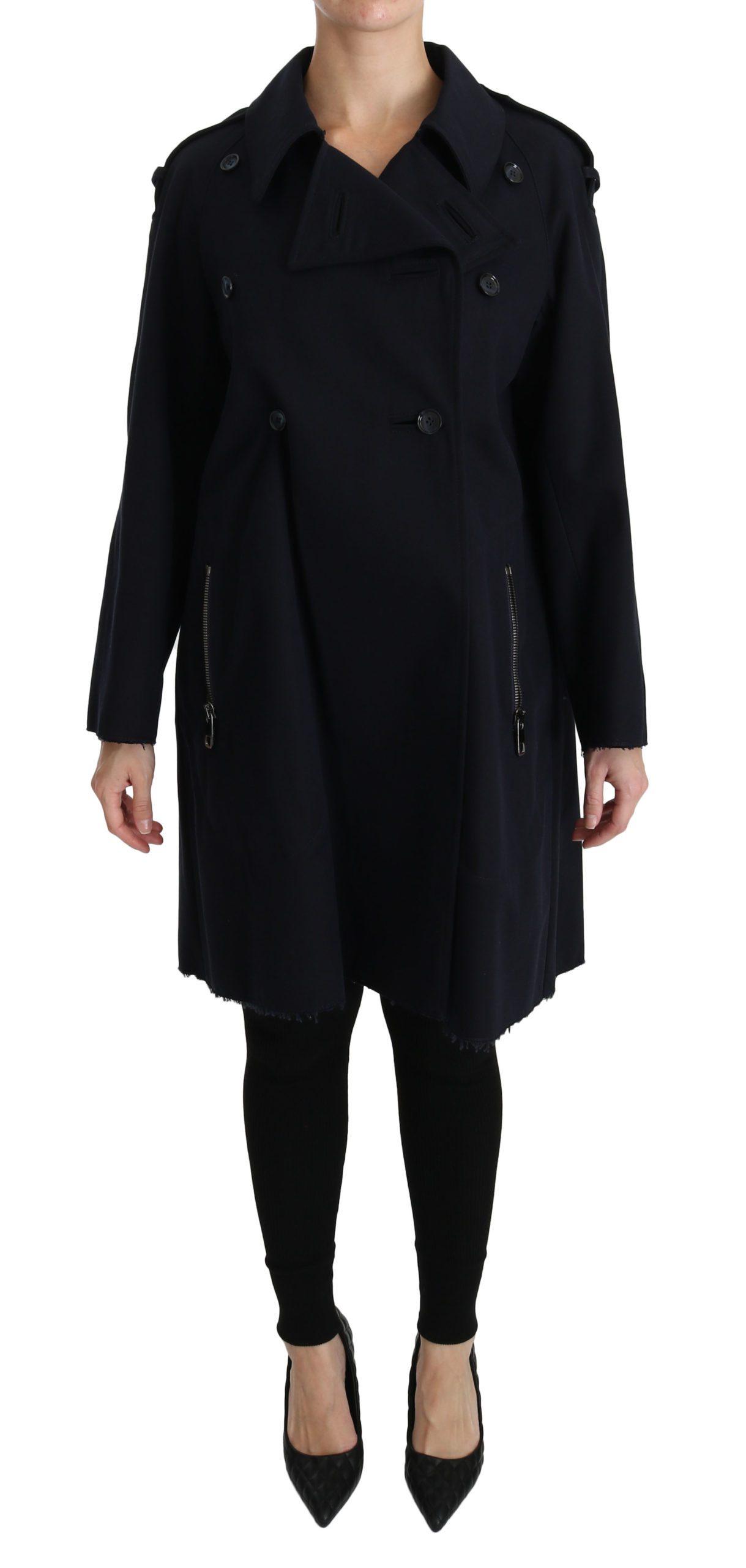 Dolce & Gabbana Women's Cotton Women Trench Jacket Blue JKT2495 - IT36 | XS