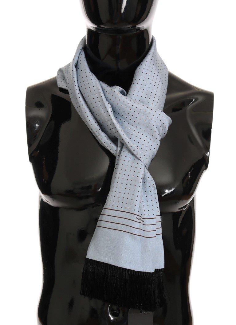 Dolce & Gabbana Men's Silk Polka Dot Scarf Blue MS2252