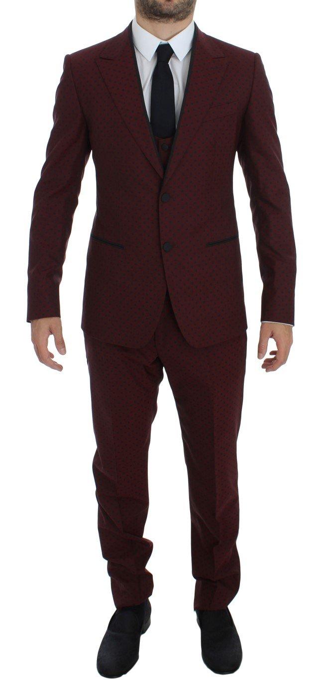 Dolce & Gabbana Men's Wool Stretch Slim 3 Piece Suit Bordeaux GTT10190 - IT50   L