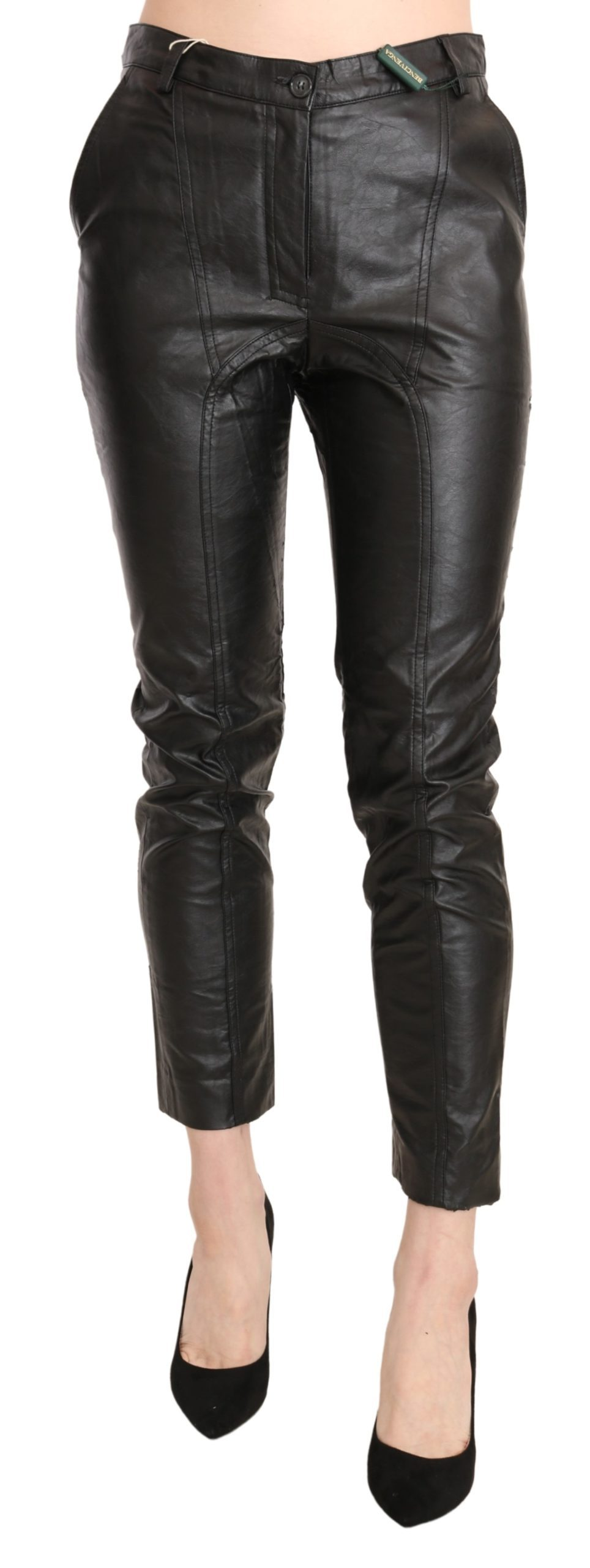 BENCIVENGA Women's Leather High Waist Skinny Trousers Black PAN71371-44 - IT44 L