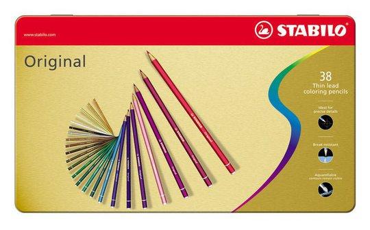 STABILO Premium Fargepenner 38-pack I Metalletui