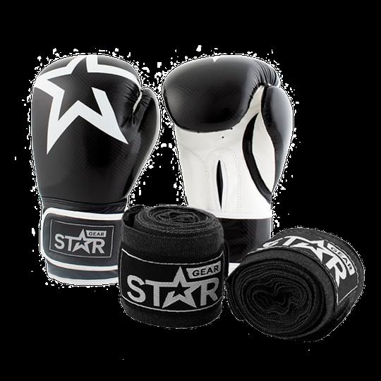 Star Gear Boxing Gloves, Black + få Hand Wraps på köpet