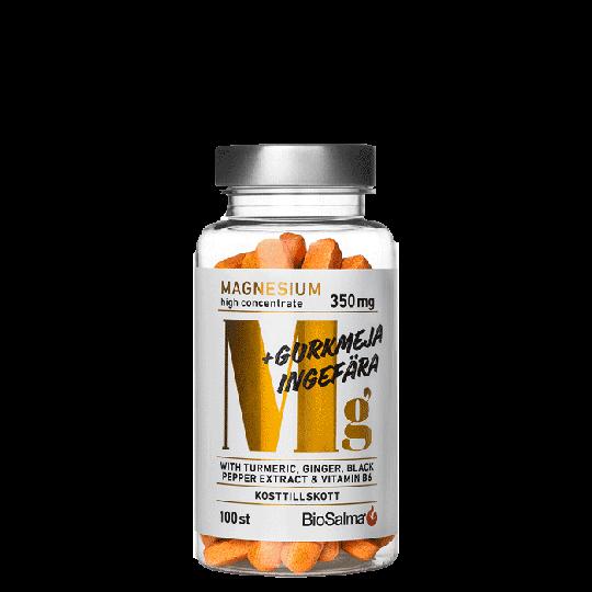 Magnesium 350 mg + Gurkmeja Ingefära, 100 tab