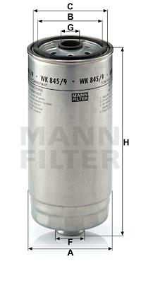 Polttoainesuodatin MANN-FILTER WK 845/9