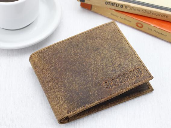 Mens Leather Wallet Brown Medium