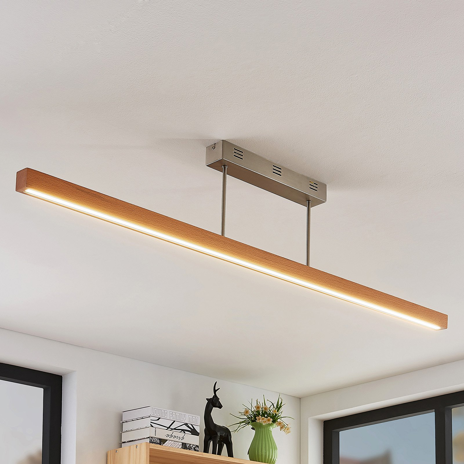 LED-tretaklampe Tamlin, bøk, 140 cm