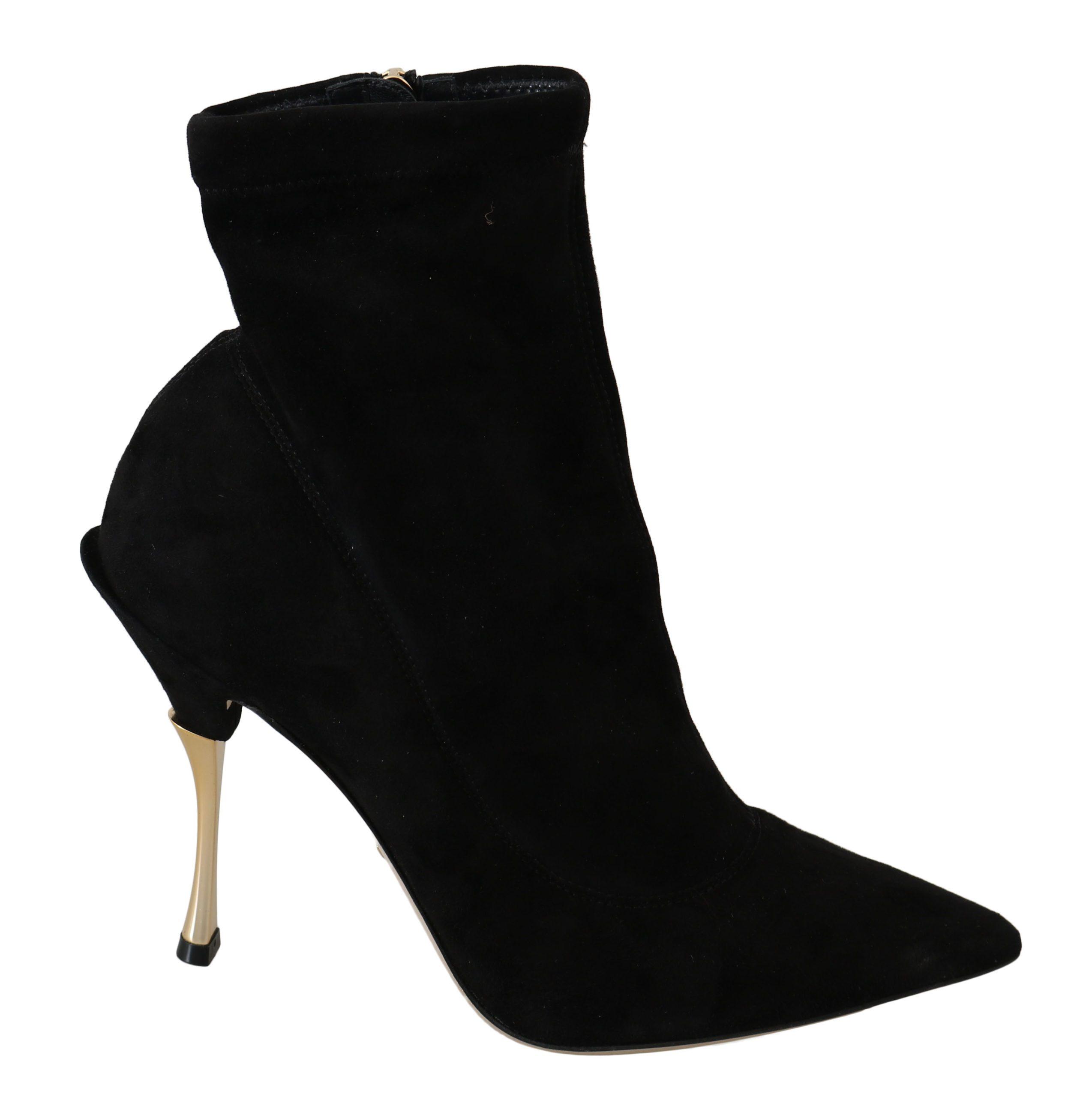 Dolce & Gabbana Women's Suede Ankle Boot Black LA6327 - EU35/US4.5