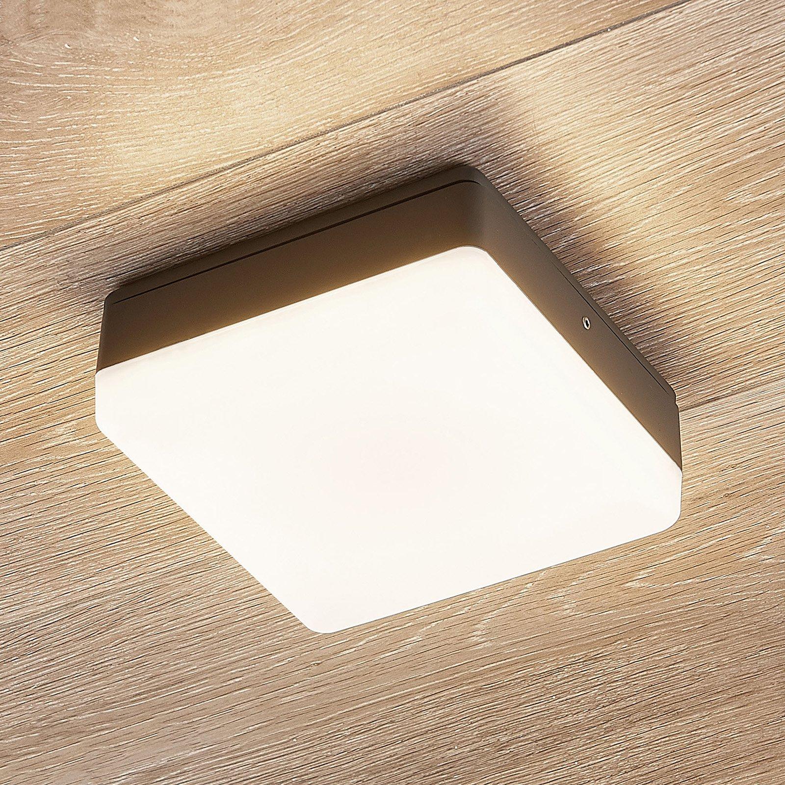 LED-taklampe Thilo, IP54, grå, 16 cm, HF-sensor