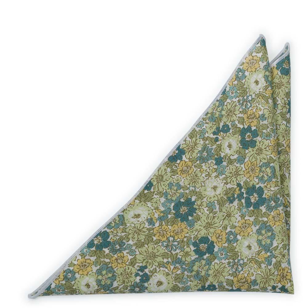 Bomull Lommetørkler, Blomster i grønne nyanser, sennep og offwhite