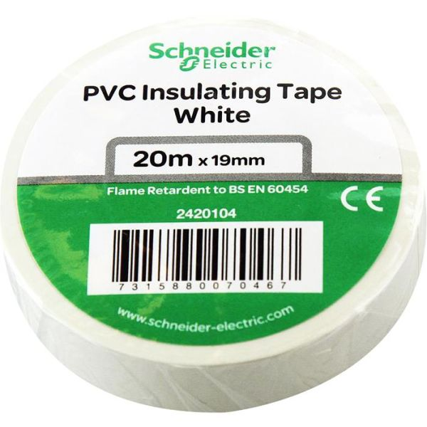 Schneider Electric 2420104 Elektrikerteip 19 mm x 20 m Hvit