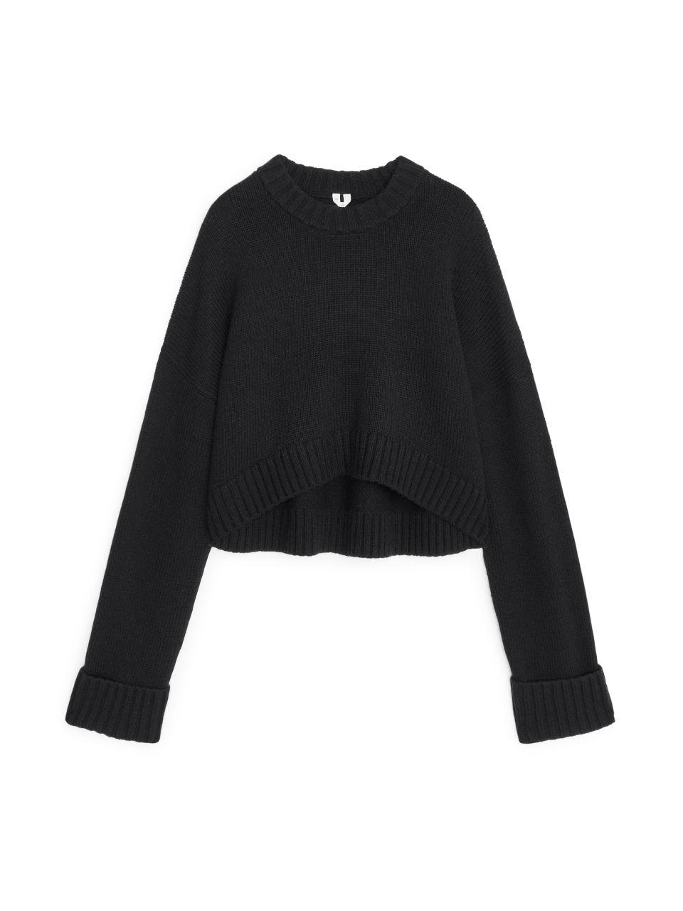 Wool Nylon Cropped Jumper - Black