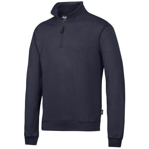 Snickers 2818 Sweatshirt marineblå, med kort glidelås XS