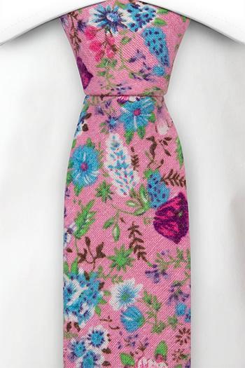 Bomull Smale Slips, Rosa, blå, lilla & grønne blomster på rosa, Rosa, Blomstrete