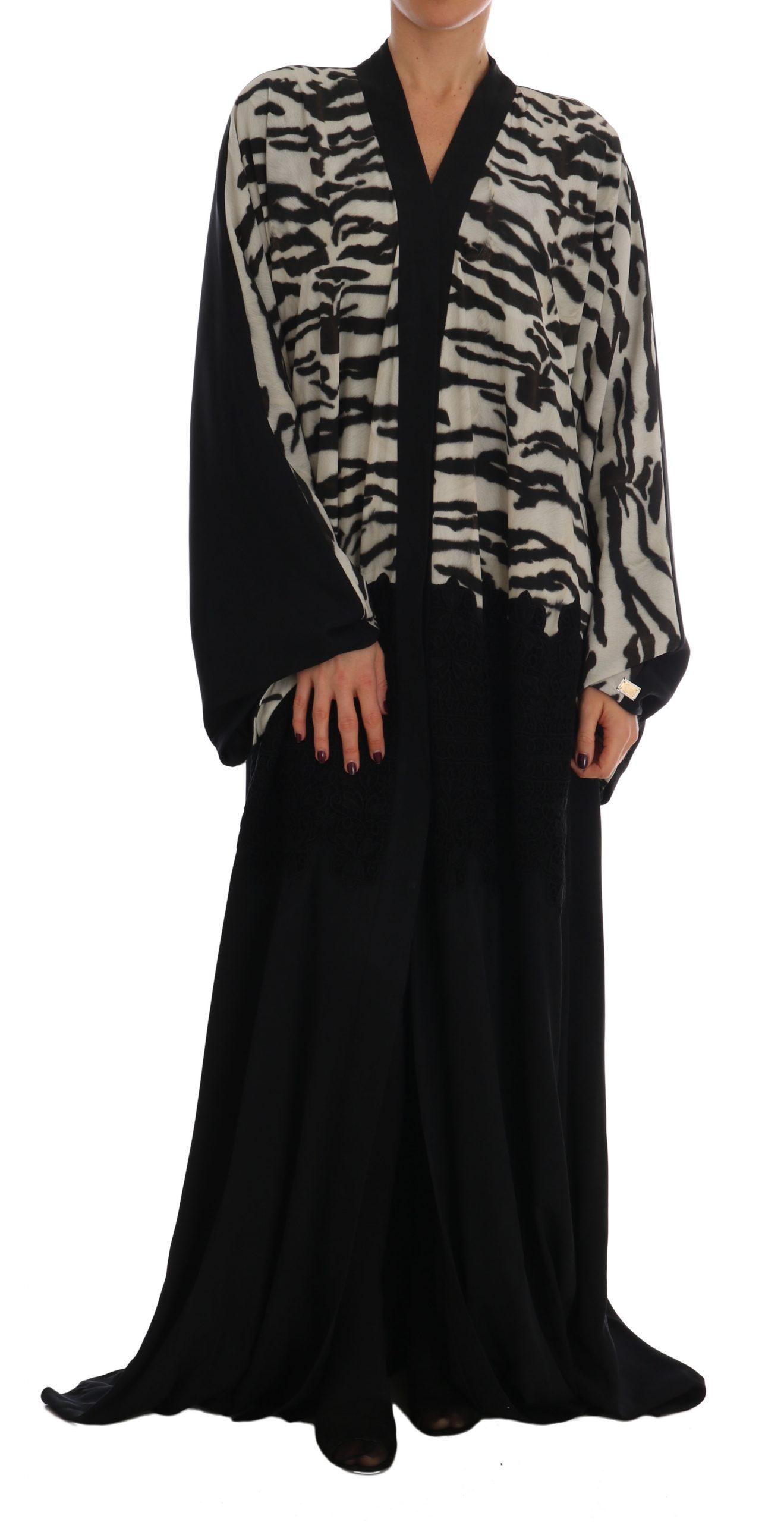 Dolce & Gabbana Women's Zebra Kaftan Abaya Cape Silk Dress Black DR1392 - IT48|XXL