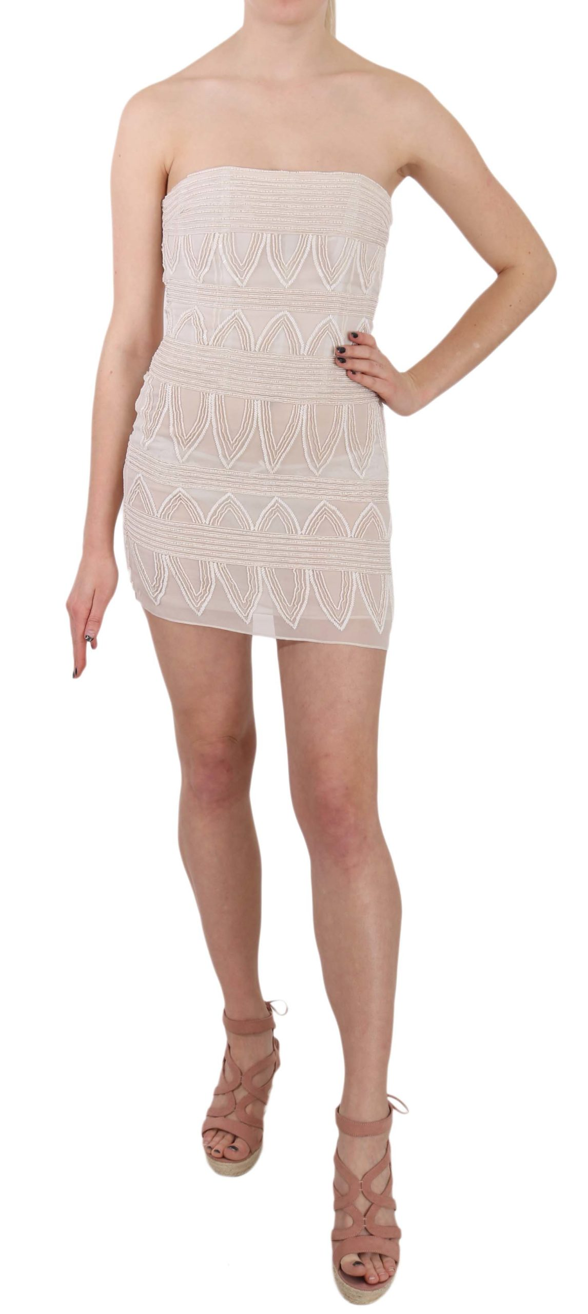 John Richmond Women's Beaded Silk Short Mini Gown Dress Beige DR1689 - IT40 S