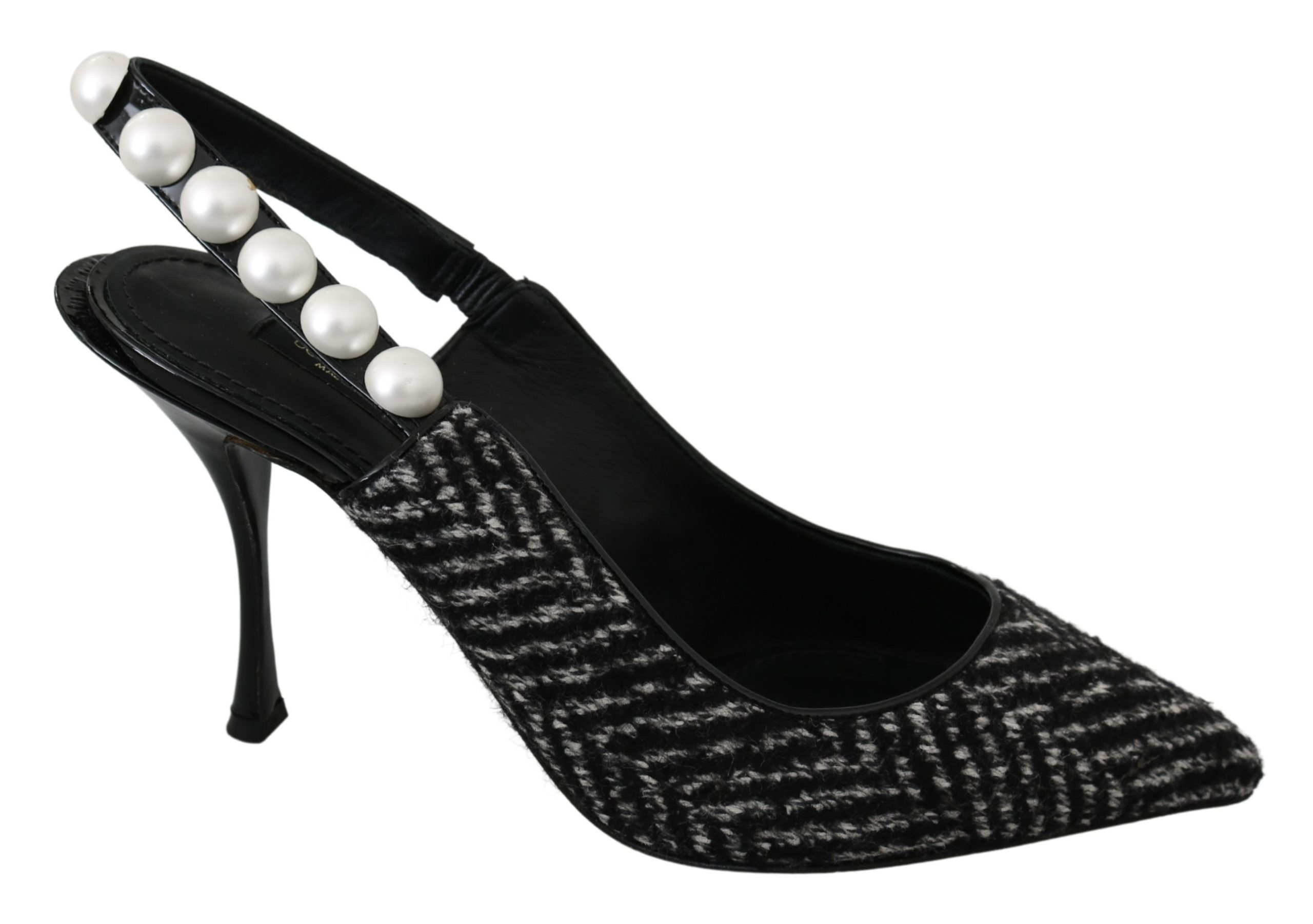 Dolce & Gabbana Women's Chevron Pearls Slingback Heels Black LA6967 - EU39/US8.5
