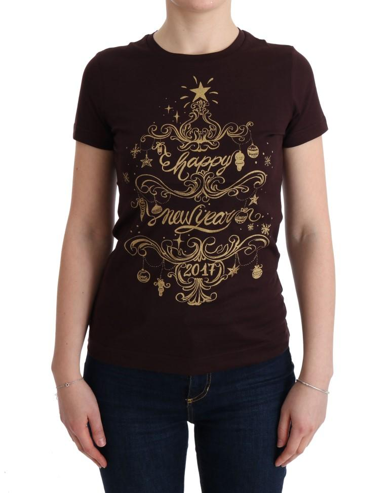 Dolce & Gabbana Women's Cotton Motive T-Shirt Brown TUI10044 - IT40 S