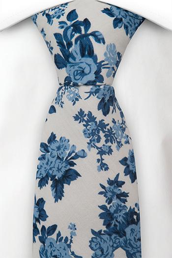Bomull Slips, Hvit bakgrunn med roser i to blåfarger, Hvit, Blomster