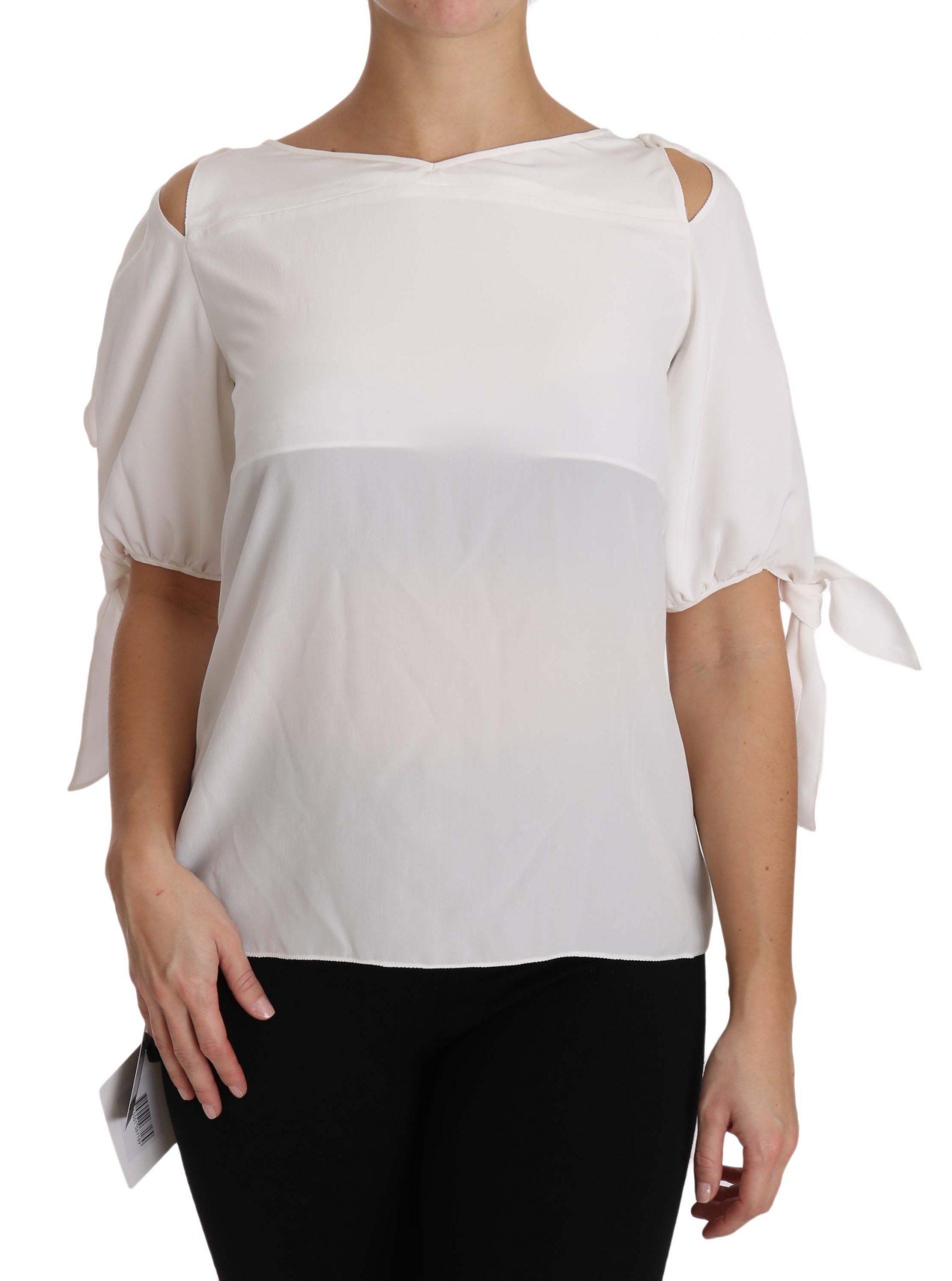 Dolce & Gabbana Women's Silk Off Shoulder Tops White TSH2957 - IT40 | M