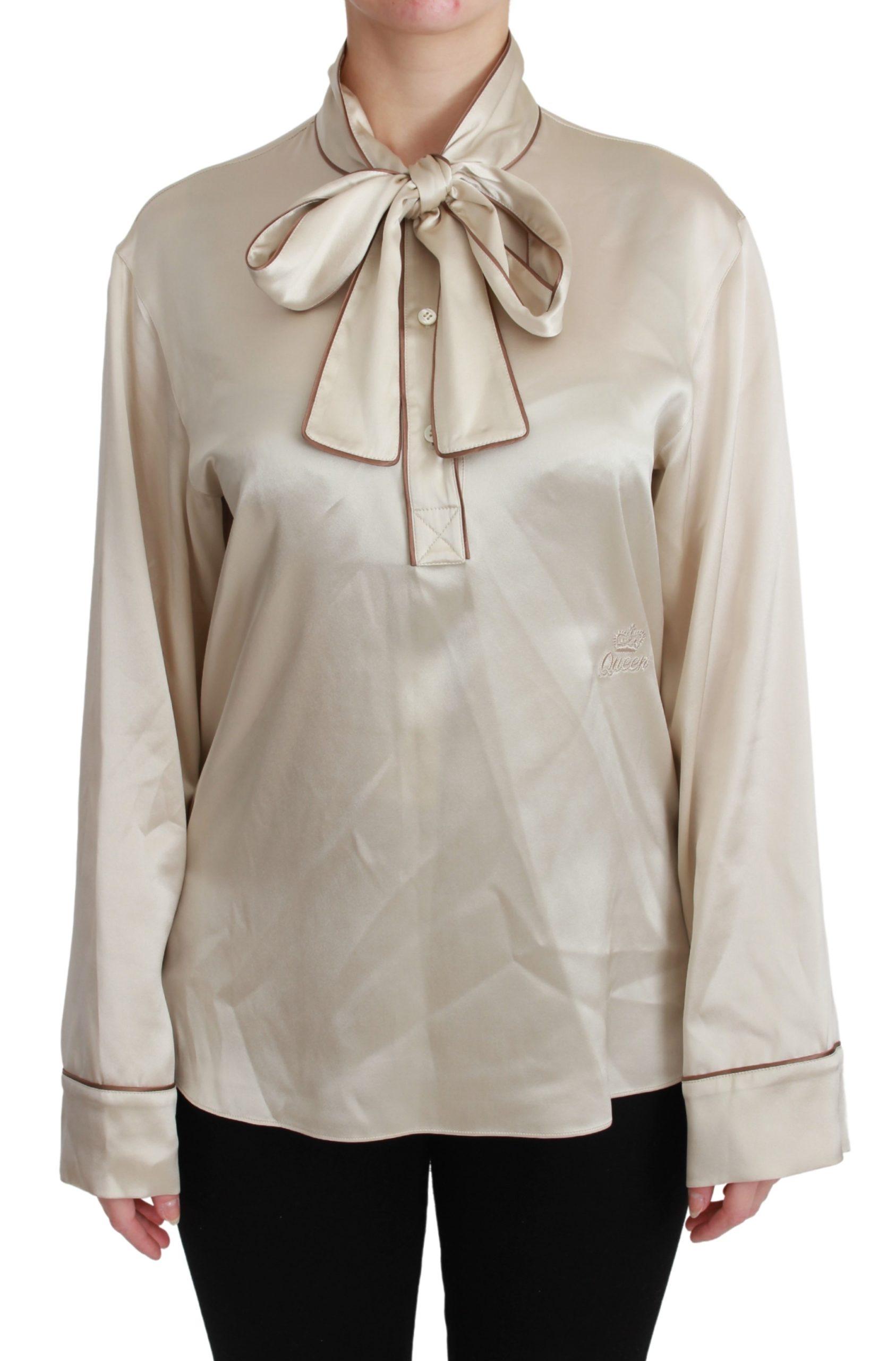 Dolce & Gabbana Women's Sleeve Queen Silk Satin Top Beige TSH4657 - IT40|S