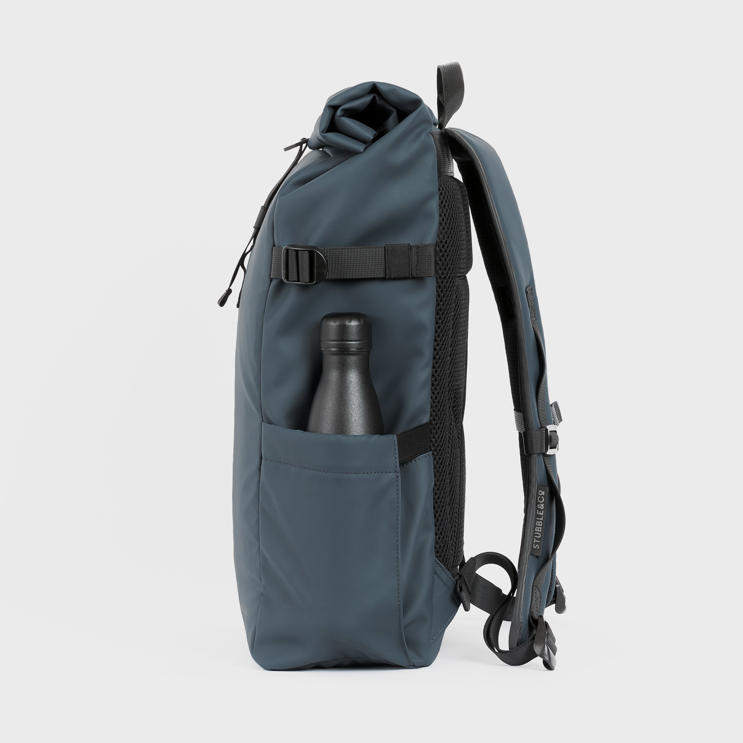 """The Roll Top. Made From Recycled Plastic. 16"""" Laptop Pocket., Tasmin Blue"""