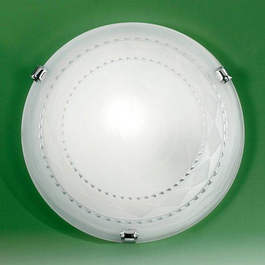 Taklampe Elea med glasskjerm, sølv, Ø 30 cm