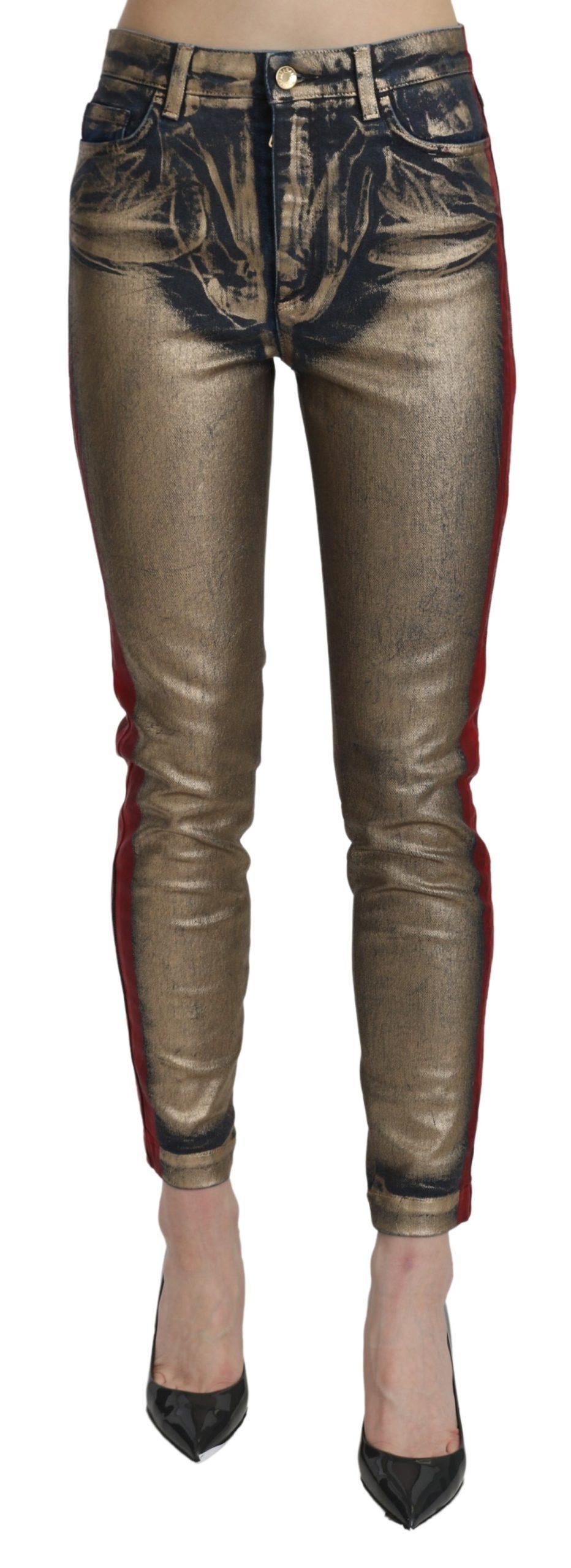 Dolce & Gabbana Women's High Waist Skinny Cotton Trouser Gold PAN71068 - IT40 S