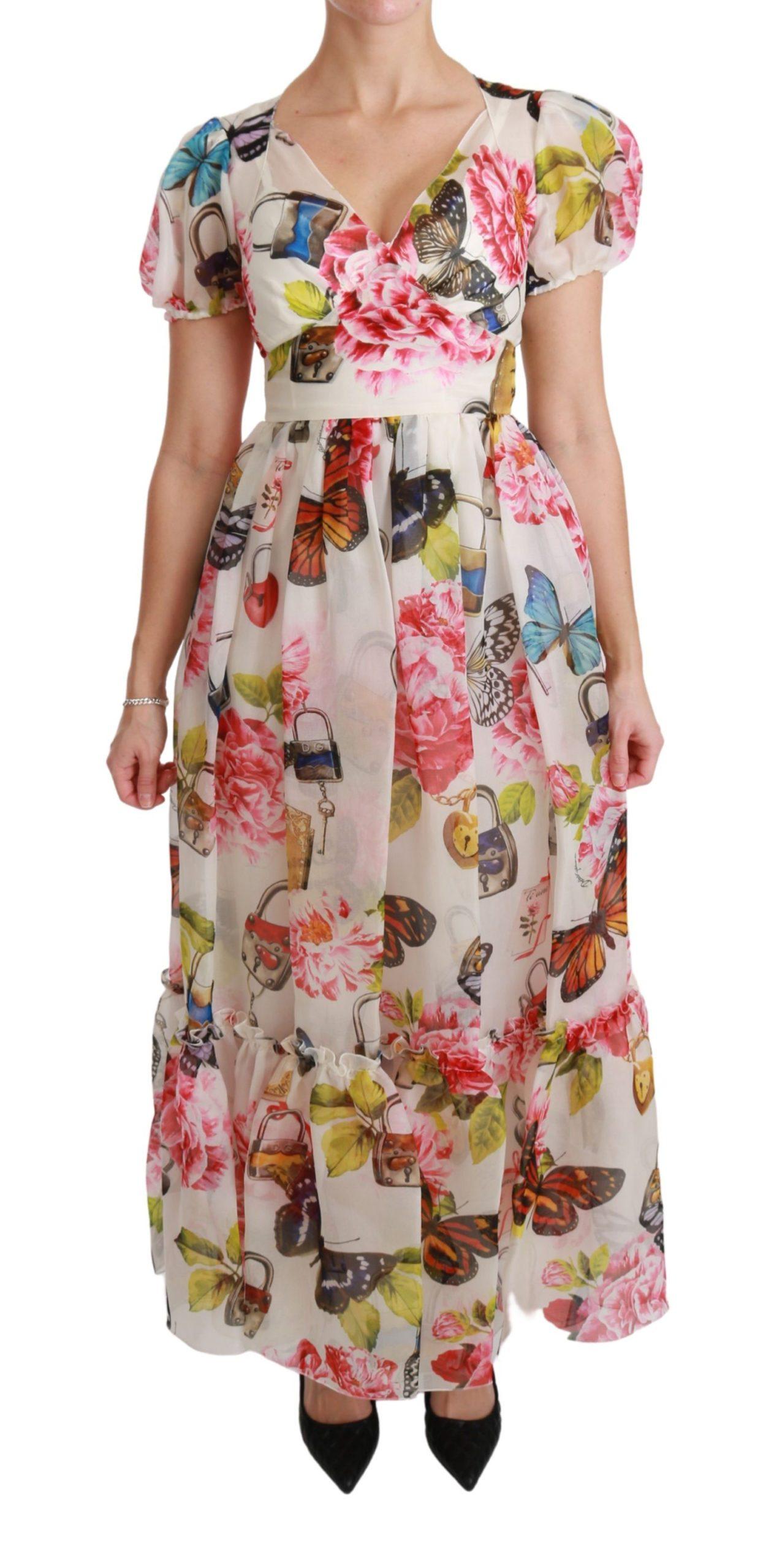 Dolce & Gabbana Women's Silk Butterfly A-Line Shift Gown Dress White DR2451 - IT36 | XS
