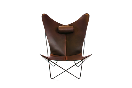 KS Fåtölj Mocca Läder & Svarta Ben