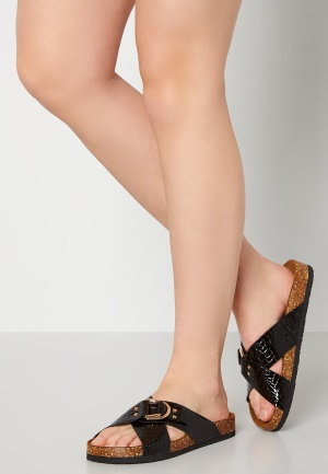 ONLY Maxi PU Croc Crossover Sandal Black 36