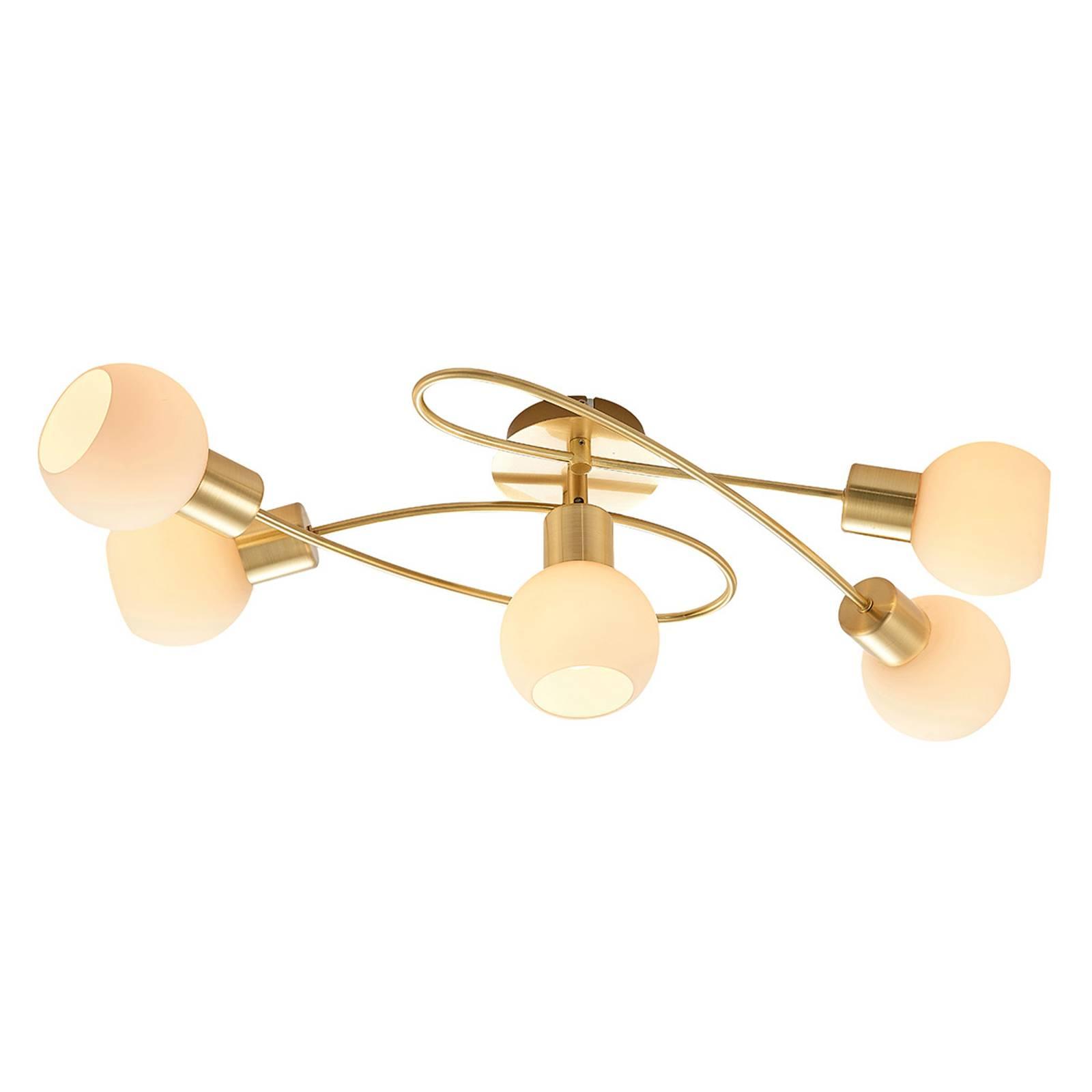 Lindby-LED-kattovalaisin Elaina, 5-lamp. messinki