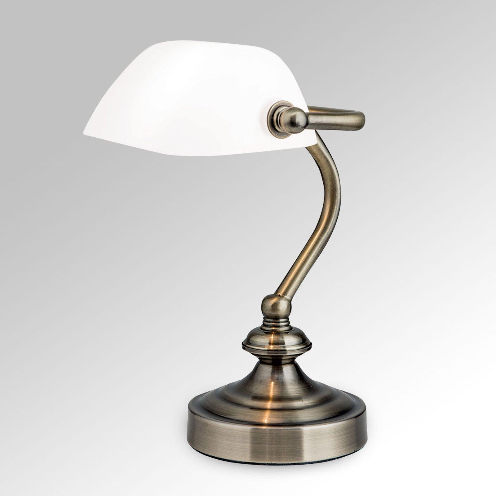 Klassisk bordlampe Zora i bankerstil, glasskjerm