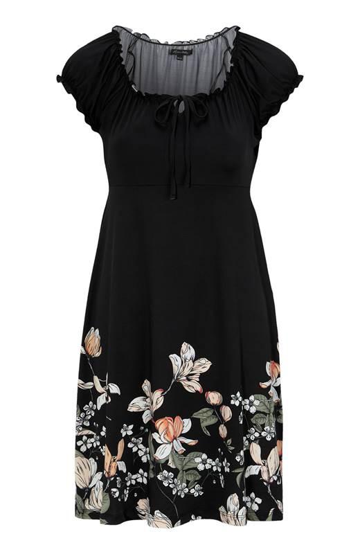 Happy Holly Jerseyklänning Tessan Svart Blommig