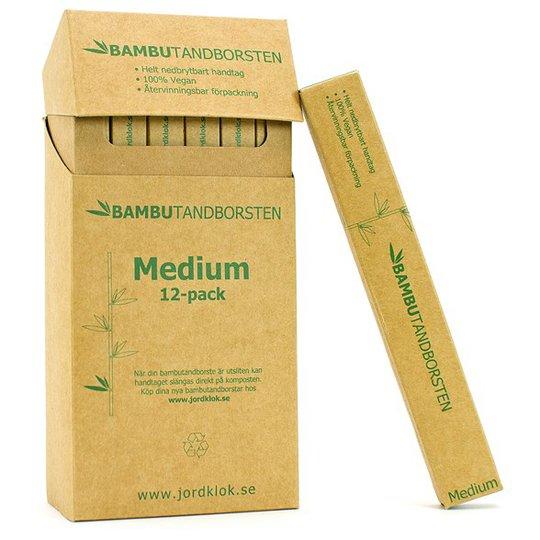 Bambutandborsten Naturlig Tandborste i bambu - Medium, 12-pack