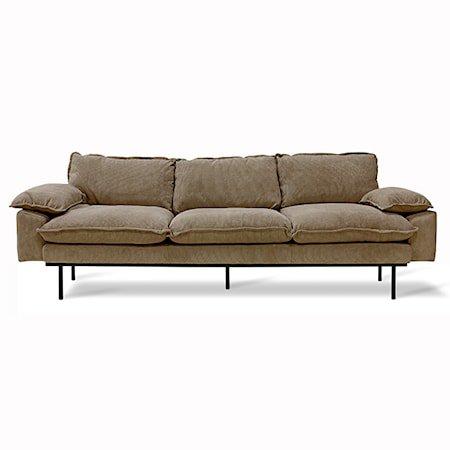 Retro Sofa 4-seter corduroy rib Brown