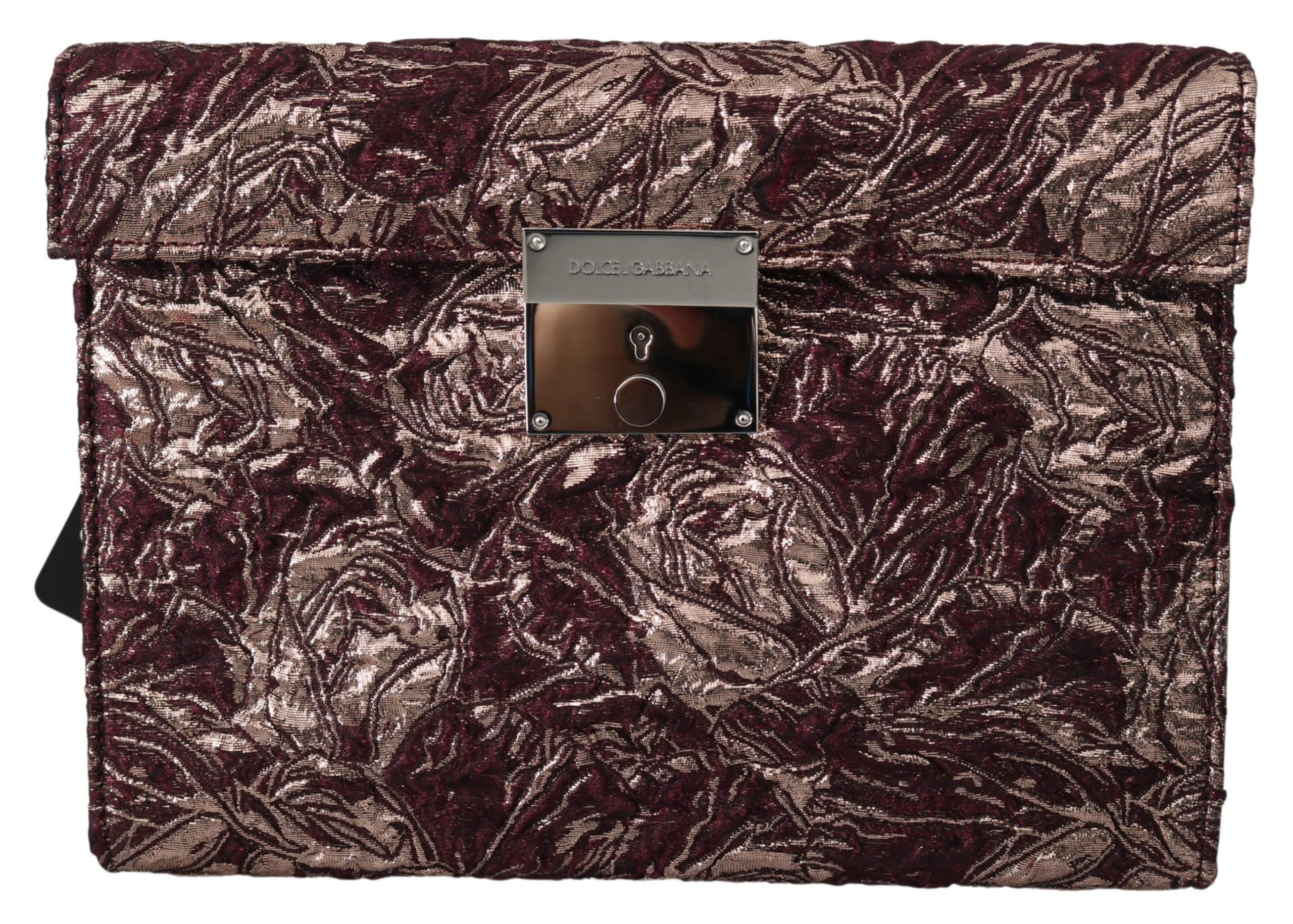 Dolce & Gabbana Men's Jacquard Leather Briefcase Bag Bordeaux VAS9859
