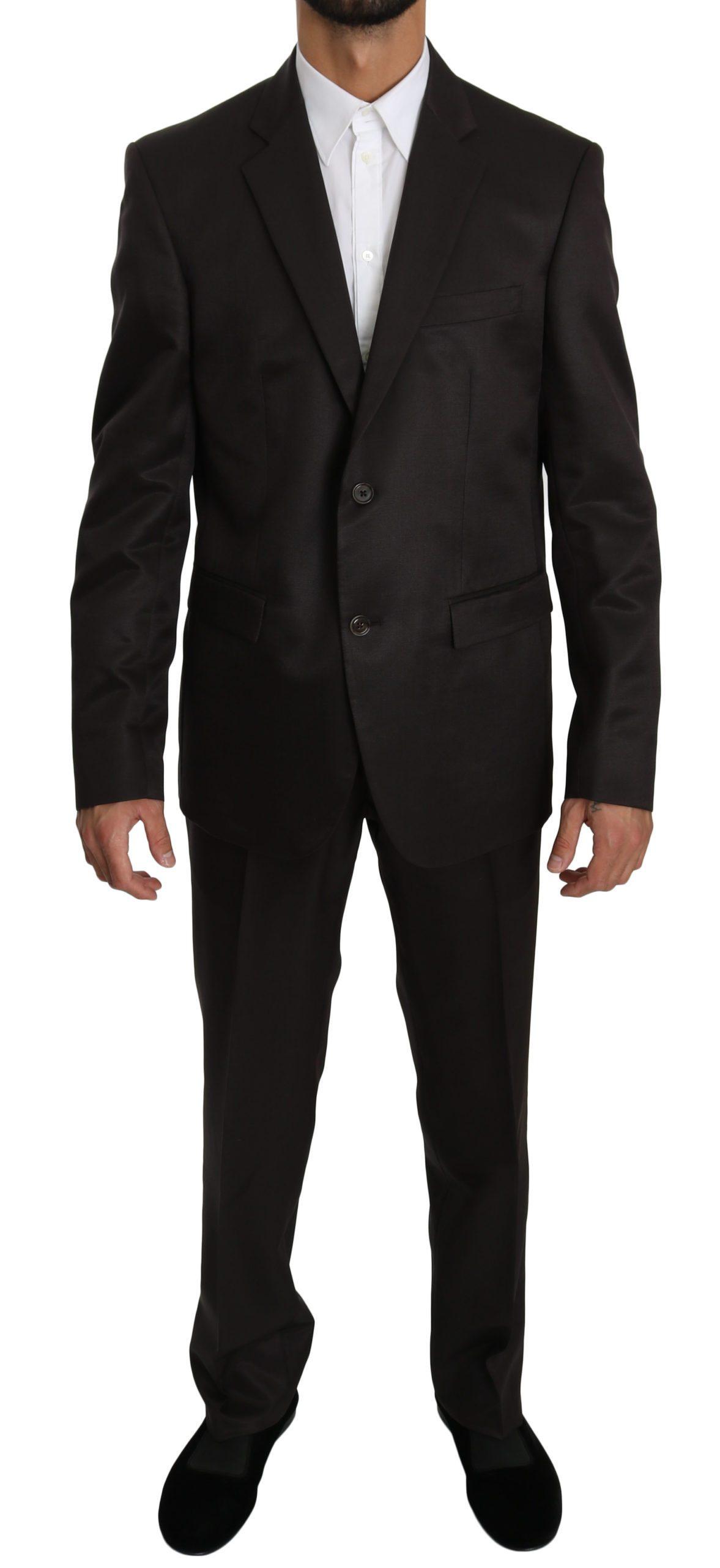Dolce & Gabbana Men's Slim Fit 2 Piece Wool Silk Suit Brown KOS1609 - IT50 | L
